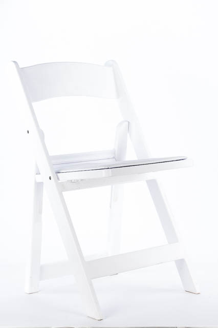 Where to find WHITE RESIN CHAIR W  PADDED SEAT in East Bay