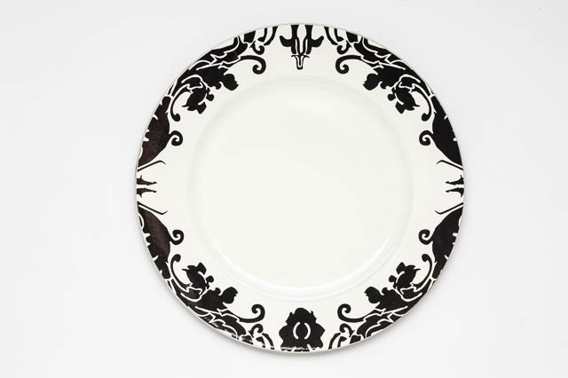 Where to find ROUND BLACK DAMASK MELAMINE CHARGER in East Bay