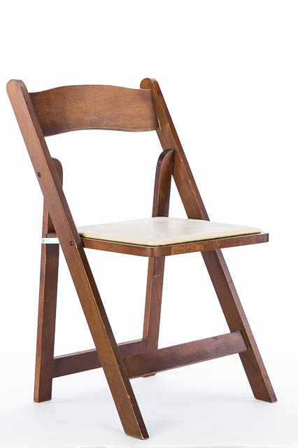 Where to find FRUITWOOD FOLDING CHAIR W  TAN PADDED SE in East Bay