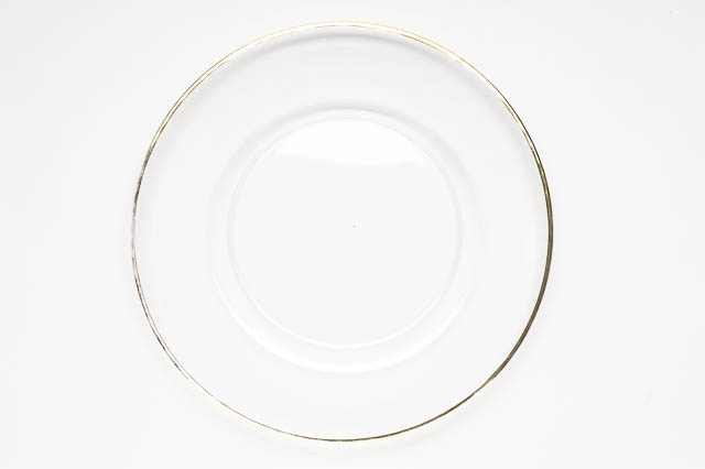 Where to find ROUND GOLD RIMMED GLASS CHARGER in East Bay
