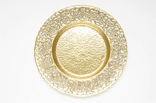 Where to find ROUND GOLD SILVER BAROQUE CHARGER in East Bay