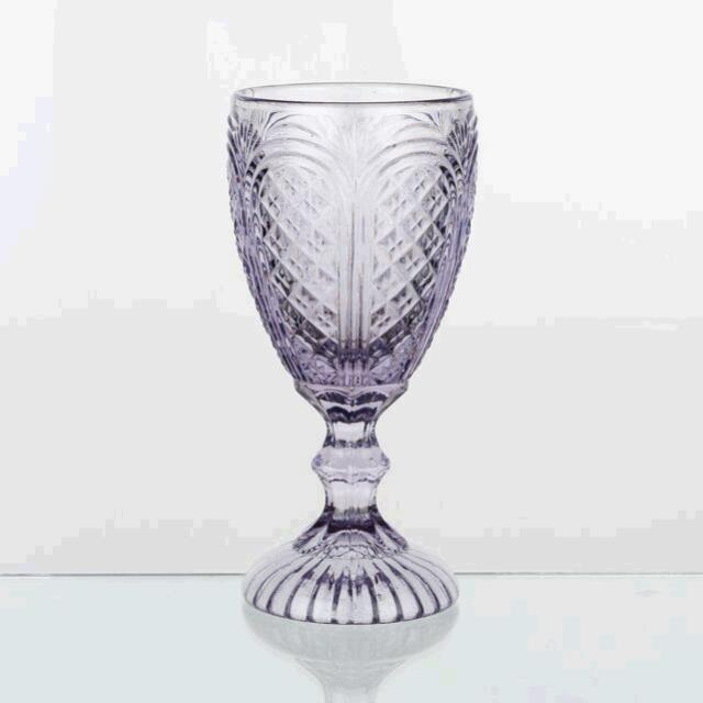 Where to find LILAC PRESSED GLASS GOBLET in East Bay